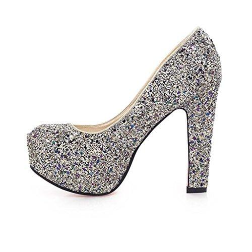 Talón Tacones Discoteca Impermeable Lentejuelas Poco Profunda Banquete Plataforma Mujer Súper Crystal Grueso Zapatos Boca Azul De Cabeza Redonda wUq8gA