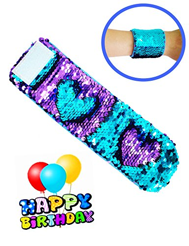 Sequins Bracelet Wristband Magic Charm for Kids, Girls, Boys Birthday Party Christmas Gifts (Blue and Purple)