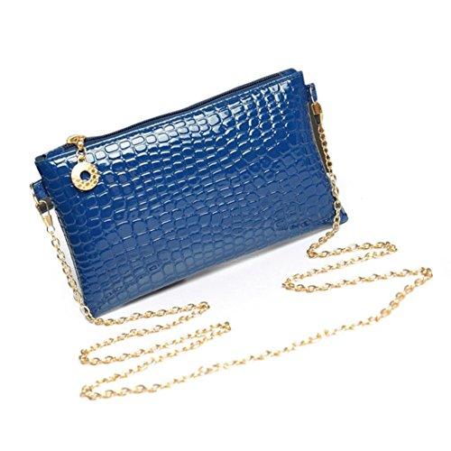 sac épaule FeiTong cuir main Femmes Bleu bandoulière à d'embrayage PU main Messenger de Sac à P8qwS
