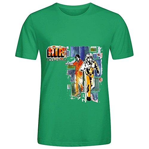 Air Moon Safari Electronica Mens Round Neck Slim Fit Shirt Green
