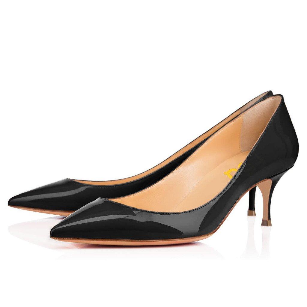 FSJ Women Classic Kitten Heels Pointy Toe Pumps Office Ladies Dress Shoes Size 11 Black