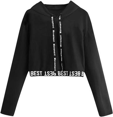 Sudaderas Mujer Cortas Tumblr con Capucha - Camiseta de Manga ...