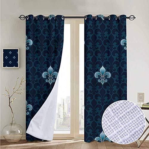 NUOMANAN Decorative Curtains for Living Room Fleur De Lis,Antique Royal Pattern,Blackout Draperies for Bedroom 54