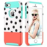 5s cute protective cases - GUAGUA iPhone 5 Case iPhone 5S Case iPhone SE Case Shockproof Polka Dot Anti-Scratch Full Body Protective Slim Hybrid Hard PC Soft TPU Glossy Cute Case for iPhone SE 5S 5 Case for Girls&Women Blue Red
