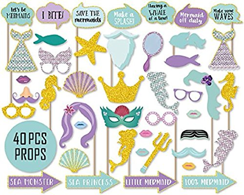 Mermaid Under the Sea Girl Birthday Party Photo Booth Props Kit On a Stick]()