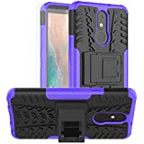 PUSHIMEI LG Aristo 4 Plus case with HD Screen Protector,LG Neon Plus/Tribute Royal/Prime2/Escape Plus/Arena 2/Journey LTE Dual Layer Protection Kickstand Phone Case Cover for LG Aristo 4+ Plus(Purple)