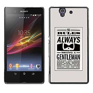 Be Good Phone Accessory // Dura Cáscara cubierta Protectora Caso Carcasa Funda de Protección para Sony Xperia Z L36H C6602 C6603 C6606 C6616 // always be gentleman bowtie retro cle