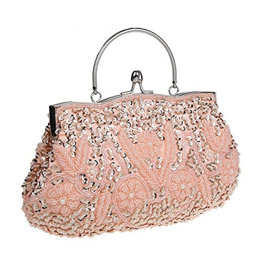 Snug star Women's Evening Clutch Two-sided Lily Beaded Sequin Design Handbag (Champagne (Satin Pearl Money Bag)