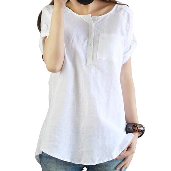 Blusas para Mujer Elegantes,O-Cuello Corto Mangas Botón Color Sólido Moda Diario Casuales
