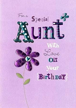 FOR A SPECIAL AUNT WITH LOVE ON YOUR BIRTHDAY HANDMADE CARD