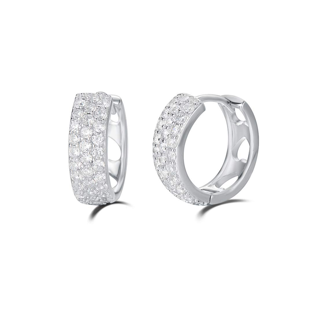 Carleen 14K White/Yellow Gold Plated Sterling Silver Pave Cubic Zirconia CZ Small/Tiny/Mini/Little Thick Huggie Cartilage Hoop Earrings For Women Girls, 15mm