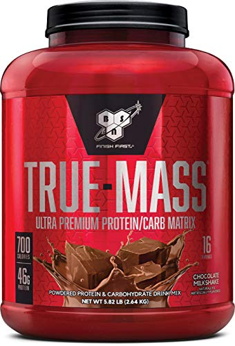 BSN TRUE-MASS Weight Gainer, Muscle Mass Gainer Protein Powder, Chocolate Milkshake, 5.82 Pound (Best Weight Gainer For Dogs)