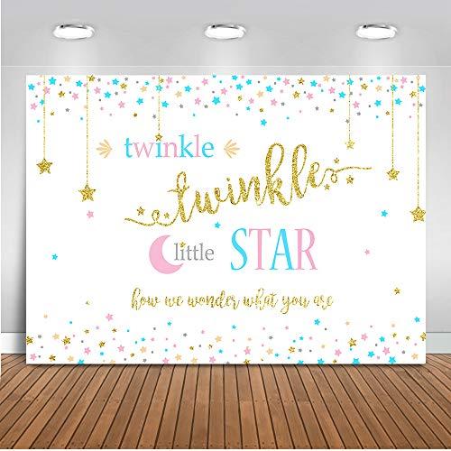 Mehofoto Twinkle Star Gender Reveal Backdrop Gender Neutral Baby Shower Photography Backdrop 7x5ft Vinyl Gender Reveal Party Banner Backdrops]()