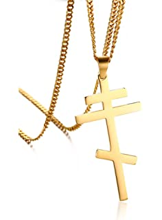 Amazon orthodox cross necklace jewelry mens stainless steel cross pendant necklace russian orthodox cross religious jewelrycurb chain 24 aloadofball Gallery