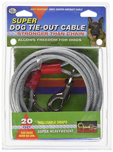 Four Paws Dog Super Tie Out Cable, 20 (Four Paws Dog Tie Outs)