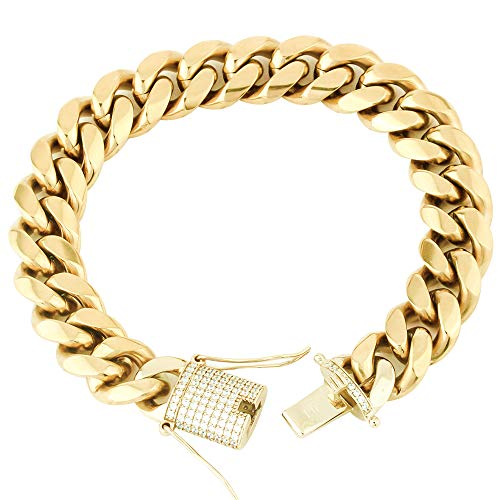 - TRIPOD JEWELRY 5 Times Real Gold Plated Solid Miami Cuban Link Bracelet- Stainless Steel Simulated Diamond Clasp- 8mm to 14mm Various Length (14mm8.5inches)