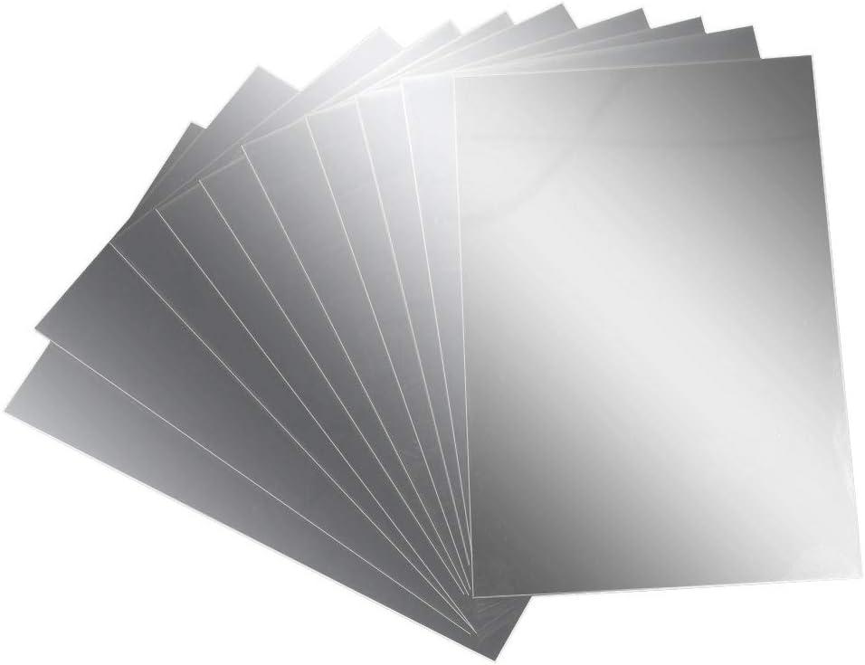 AILANDA Espejos de Pared Autoadhesivo 10 pcs Espejos de plástico láminas Flexibles con Efecto Espejo Anti caída 15 * 10cm para Dormitorio baño Escuela