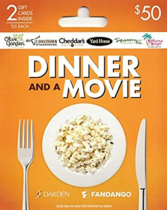 Amazon.com: Darden-Fandango Movie & a Meal, Multipack of 2 - $25: Gift Cards