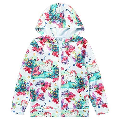 Liliane Coats for Girls Jackets for Girls Rainbow Tutu Girls Unicorn pj Little Girls Zip Hoodie Girls(A040, 6-7Years) ()