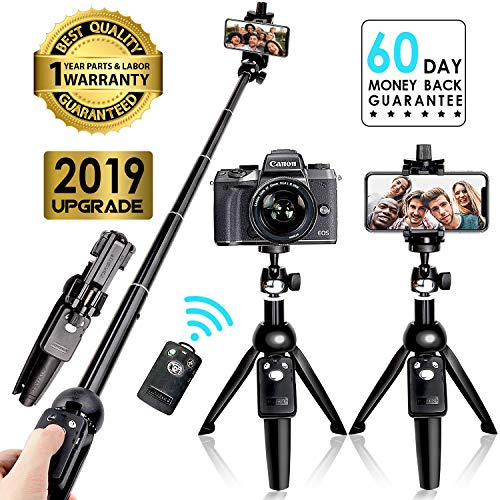 Selfie Stick Tripod Bluetooth, 40 Inch Extendable Flexible Selfie Stick Tripod with Detachable Wireless Remote, Compatible with iPhone Xs Max/XS/XR/iPhone X/iPhone 8 Plus/iPhone 7/iPhone 6 Plus/Galaxy (Best Way To Carry Dslr While Traveling)