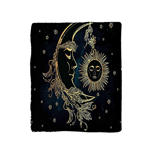 Kisscase Custom Blanket Psychedelic Crescent Moon with Boho Feathers Alchemy Magic Egyptian Myth Design Bedroom Living Room Dorm Golden Petrol Blue