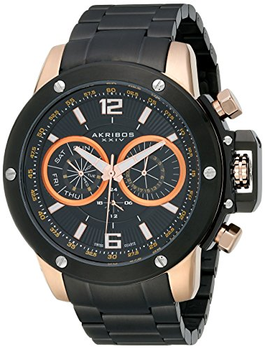 Akribos XXIV Men's AK604RG Conqueror Multi-Function Stainless Steel Watch with Link Bracelet