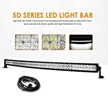 "Auxbeam 50"" 288W Curved LED Light Bar 5D Lens 28800LM CREE Spot Flood Combo Beam Driving Light with Wiring Harness"