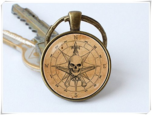 Pirate key chain, keyring ,Old compass key chain, Pirate pendant ,compass key ring.