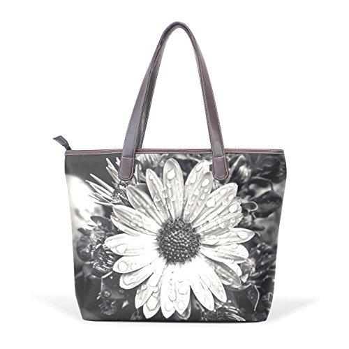 COOSUN Bolso para mujer del Cabo Cesta de la flor Composites cuero de la PU manija grande bolsa de asas de hombro M (40x29x9) cm muticolour
