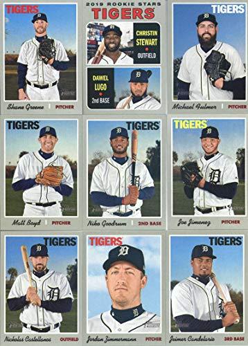 2019 Topps Heritage Baseball Detroit Tigers Team Set of 9 Cards: Jordan Zimmermann(#12), Jeimer Candelario(#33), Joe Jimenez(#95), Nicholas Castellanos(#98), Matt Boyd(#152), Niko Goodrum(#177), Dawel Lugo/Christin Stewart(#207), Shane Greene(#269), Michael Fulmer(#313)