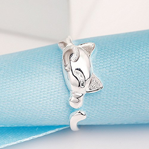 sterling silver rhodium plated cat ring for