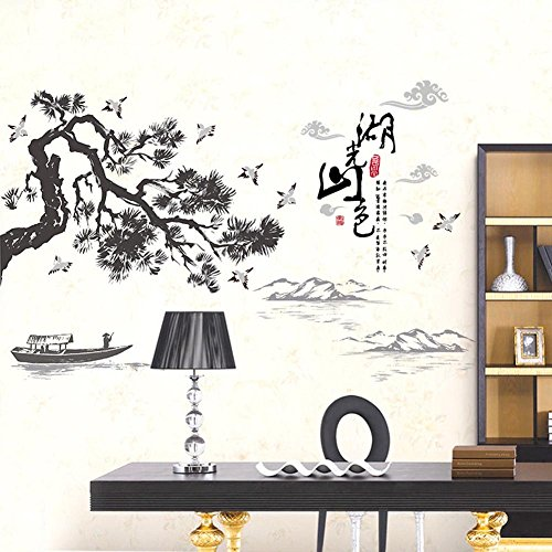 Chinese Decal - BIBITIME Chinese landscape of Lakes Mountains Painting style Pines Cranes Wall Decal for Living Room TV Background Library Vinyl Art Mural,48.03