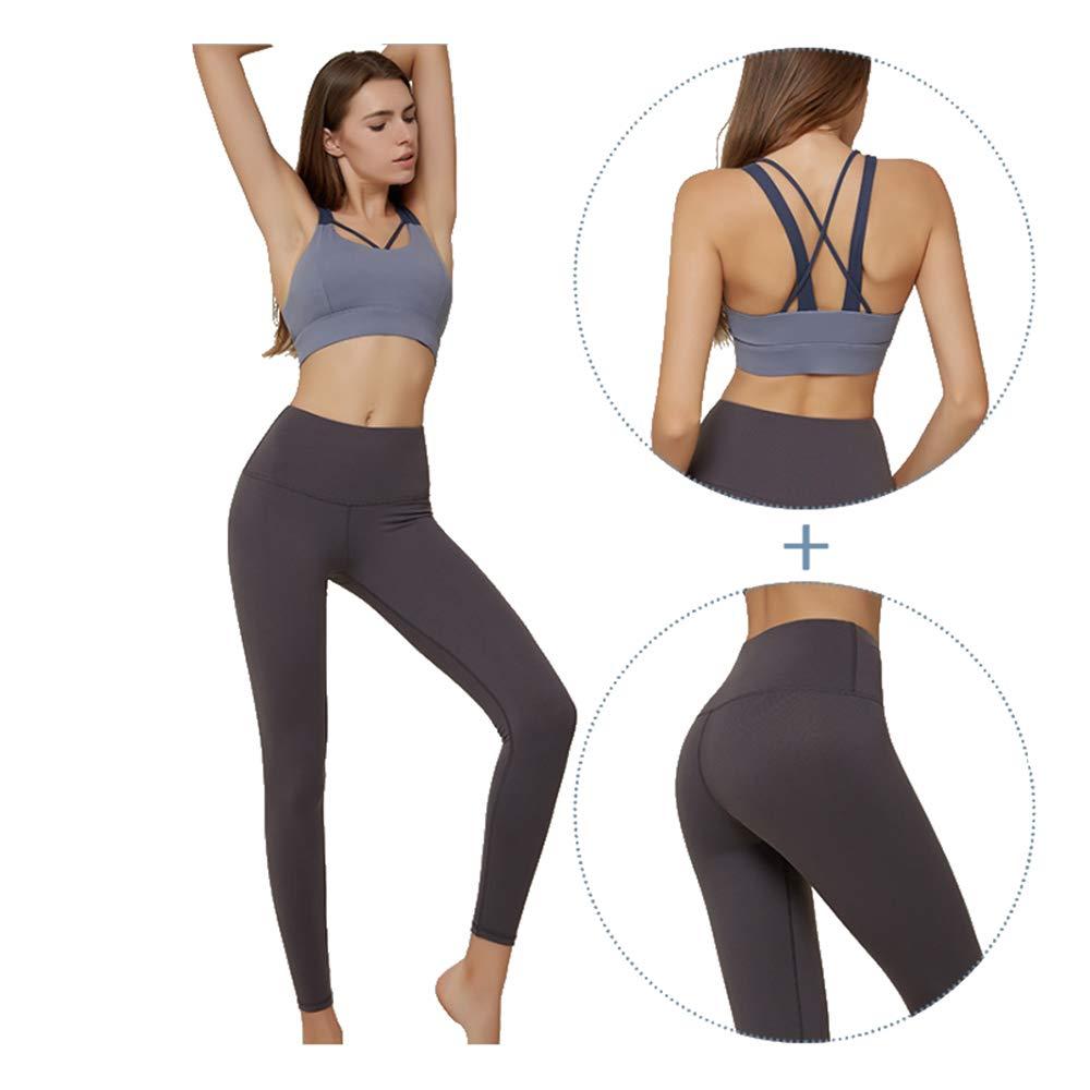 YMMONLIA Yoga Wear Set, Sport Fitness Yoga Damen Sportswear Wear/Weste und Top & Leggings Stretch-Fit Yoga Gym Set Trainingsweste Damen Trainingsbekleidung Weste Laufhose Yoga Anzug