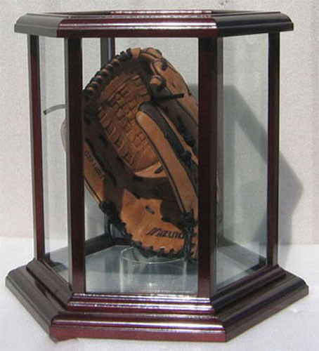 Baseball Glove Display Case Hexagon Shape ( Solid Wood Frame ) by Display Case