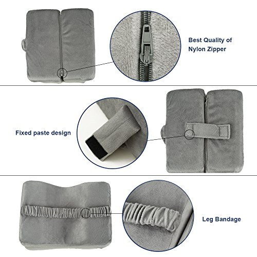 TTLIFE Sciatic Nerve Pain Relief Knee Pillow Orthopedic Doctor Recommend for Sciatica, Back Pain, Leg Pain, Pregnancy, Hip and Joint Pain - Memory Foam Cushion with Washable Cover,Grey by TTLIFE (Image #5)
