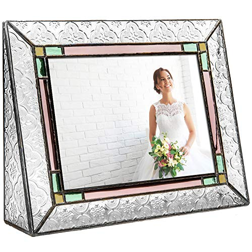 - J Devlin Pic 137-57H Picture Frame Stained Glass Green Pale Purple Amber Tabletop 5x7 Horizontal Family Photo