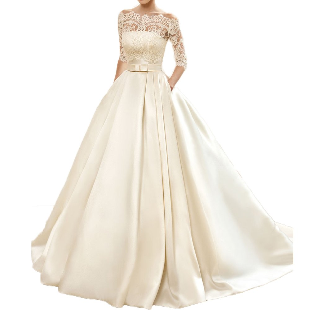 Yuxin Womens Lace Wedding Dress 34 Sleeves Sweep Train Satin