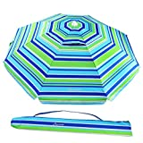 MOVTOTOP Beach Umbrella, 6.5ft Sand Anchor with Tilt Aluminum Pole, Portable UV 50+ Protection Beach Umbrella with Carry Bag for Outdoor Patio