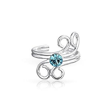 774739f0708d Aqua Crystal cable espiral Ear Cuff Wrap Clip Aretes de Plata Esterlina no  perforada cartílago aretes de Clip niñas  Amazon.es  Joyería