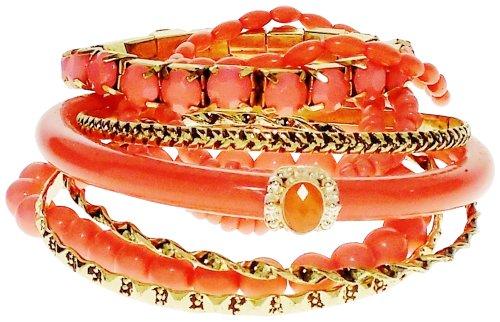 Bracelet - Coral Resin & Goldtone Stack and Stretch Bracelets - Riki's Coral Kiss - Stack Resin