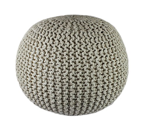 Cotton Craft - Hand Knitted Cable Style Tweed Dori Pouf - Natural - Floor Ottoman - 100% Cotton Braid Cord - Handmade & Hand stitched - Truly one of a kind seating - 20 Dia x 14 High
