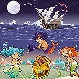 Leyiyi 5x5ft Kids Happy Birthday Backdrop Cartoon Mermaids Pirate Ship Treasure Chest Underwater Creature Starry Night Sky Moon 1st B Day Photo Background Baby Shower Portrait Shoot Vinyl Studio Prop