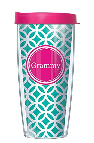 16 Ounce Traveler Mug (Grammy on Teal Roundabout Traveler 16 Oz Tumbler Mug with Pink Lid)