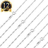 Arts & Crafts : SUBANG 12 pcs Necklace 1.2mm 18 Inches 925 Silver Plated Water Ripple Neck Chain Necklace with Lobster Clasps for Jewelry Making