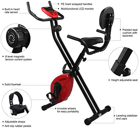 Finether-Bicicleta Estática Plegable Magnética con Respaldo Ejercicio Bicicleta Ajustable Bicicleta Gimnasio con Pantalla LCD y Sensor, Color Rojo y Negro: Amazon.es: Deportes y aire libre
