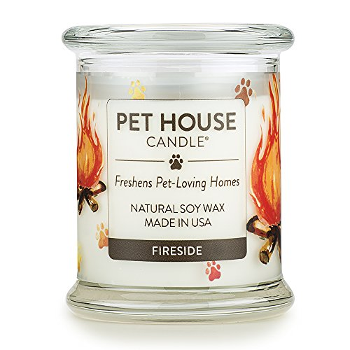One Fur All - 100% Natural Soy Wax Candle, 20 Fragrances - Pet Odor Eliminator, Up to 60 Hours Burn Time, Non-Toxic, Eco-Friendly Reusable Glass Jar Scented Candles – Pet House Candle, Fireside