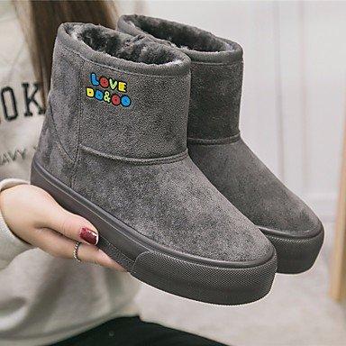 Botas de la mujer Confort Suede Tulle Primavera confort informal gris plana negra Gray