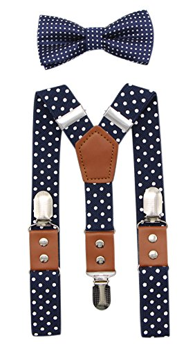 JAIFEI Suspender & Bowtie Set For Men & Boys Durable Clips & High End PU Leather (Boys(32 Inches), Dots-Navy)