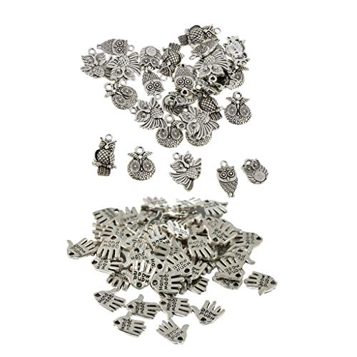 (80pcs Wholesale DIY Loose Beads Hand Palm Assorted Owl Pendant Beads Crafts Necklace Jewelry Crafting Key Chain Bracelet Pendants Accessories Best)