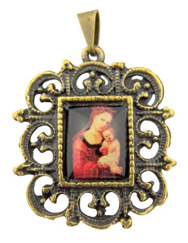 Madonna and Christ Child Icon 1 Inch Bronzed Base Medal Antique Style Pendant ()